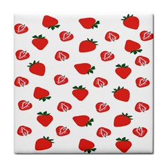 Red Fruit Strawberry Pattern Tile Coasters