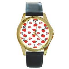 Red Fruit Strawberry Pattern Round Gold Metal Watch