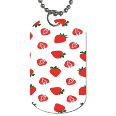 Red Fruit Strawberry Pattern Dog Tag (two Sides) by Mariart