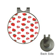 Red Fruit Strawberry Pattern Hat Clips With Golf Markers by Mariart
