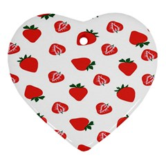 Red Fruit Strawberry Pattern Heart Ornament (two Sides) by Mariart