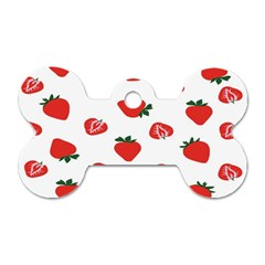 Red Fruit Strawberry Pattern Dog Tag Bone (one Side) by Mariart