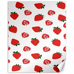Red Fruit Strawberry Pattern Canvas 11  X 14