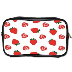 Red Fruit Strawberry Pattern Toiletries Bags by Mariart