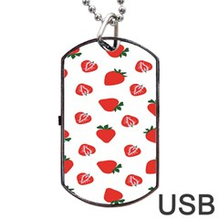 Red Fruit Strawberry Pattern Dog Tag Usb Flash (two Sides) by Mariart