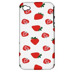 Red Fruit Strawberry Pattern Apple Iphone 4/4s Hardshell Case (pc+silicone) by Mariart