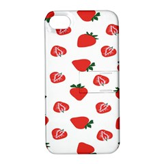 Red Fruit Strawberry Pattern Apple Iphone 4/4s Hardshell Case With Stand by Mariart