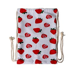 Red Fruit Strawberry Pattern Drawstring Bag (small) by Mariart