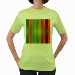 Rainbow Stripes Vertical Colorful Bright Women s Green T Shirt by Mariart