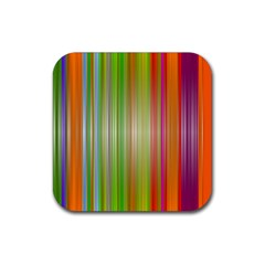 Rainbow Stripes Vertical Colorful Bright Rubber Square Coaster (4 Pack)  by Mariart