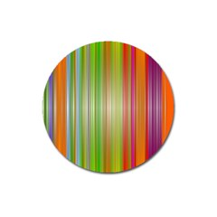 Rainbow Stripes Vertical Colorful Bright Magnet 3  (round) by Mariart