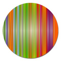 Rainbow Stripes Vertical Colorful Bright Magnet 5  (round) by Mariart