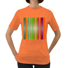 Rainbow Stripes Vertical Colorful Bright Women s Dark T Shirt by Mariart