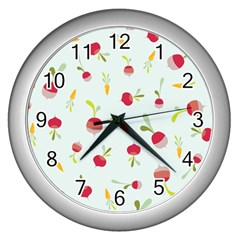 Root Vegetables Pattern Carrots Wall Clocks (silver)  by Mariart