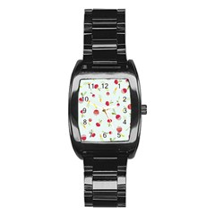 Root Vegetables Pattern Carrots Stainless Steel Barrel Watch by Mariart
