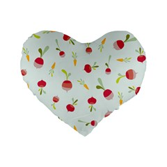 Root Vegetables Pattern Carrots Standard 16  Premium Flano Heart Shape Cushions by Mariart