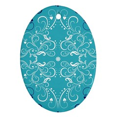 Repeatable Patterns Shutterstock Blue Leaf Heart Love Ornament (oval)
