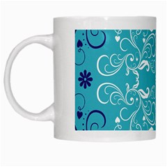 Repeatable Patterns Shutterstock Blue Leaf Heart Love White Mugs by Mariart