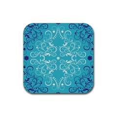 Repeatable Patterns Shutterstock Blue Leaf Heart Love Rubber Square Coaster (4 Pack)  by Mariart