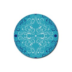 Repeatable Patterns Shutterstock Blue Leaf Heart Love Rubber Coaster (round)  by Mariart