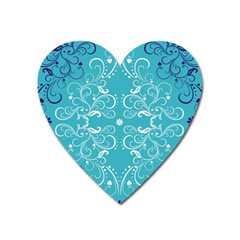 Repeatable Patterns Shutterstock Blue Leaf Heart Love Heart Magnet by Mariart
