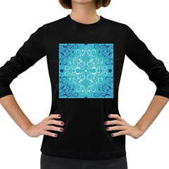 Repeatable Patterns Shutterstock Blue Leaf Heart Love Women s Long Sleeve Dark T Shirts
