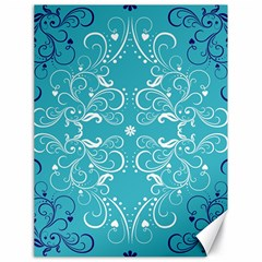 Repeatable Patterns Shutterstock Blue Leaf Heart Love Canvas 18  X 24   by Mariart
