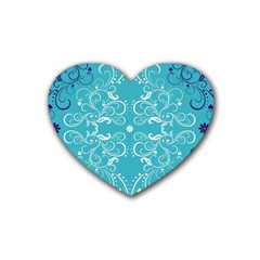 Repeatable Patterns Shutterstock Blue Leaf Heart Love Heart Coaster (4 Pack)  by Mariart
