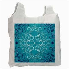 Repeatable Patterns Shutterstock Blue Leaf Heart Love Recycle Bag (one Side) by Mariart