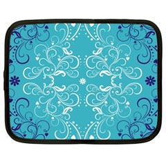 Repeatable Patterns Shutterstock Blue Leaf Heart Love Netbook Case (xl)  by Mariart