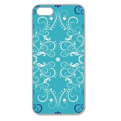 Repeatable Patterns Shutterstock Blue Leaf Heart Love Apple Seamless Iphone 5 Case (clear) by Mariart