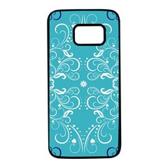 Repeatable Patterns Shutterstock Blue Leaf Heart Love Samsung Galaxy S7 Black Seamless Case by Mariart