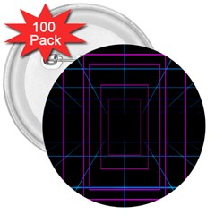 Retro Neon Grid Squares And Circle Pop Loop Motion Background Plaid Purple 3  Buttons (100 Pack)  by Mariart