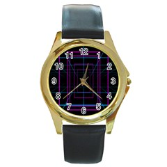 Retro Neon Grid Squares And Circle Pop Loop Motion Background Plaid Purple Round Gold Metal Watch by Mariart