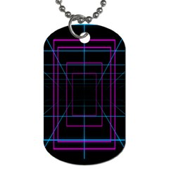 Retro Neon Grid Squares And Circle Pop Loop Motion Background Plaid Purple Dog Tag (one Side) by Mariart