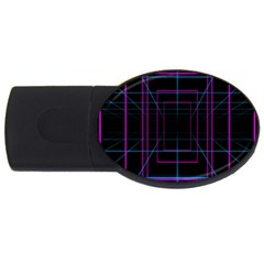 Retro Neon Grid Squares And Circle Pop Loop Motion Background Plaid Purple Usb Flash Drive Oval (4 Gb) by Mariart