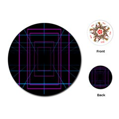 Retro Neon Grid Squares And Circle Pop Loop Motion Background Plaid Purple Playing Cards (round)  by Mariart