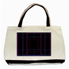 Retro Neon Grid Squares And Circle Pop Loop Motion Background Plaid Purple Basic Tote Bag by Mariart