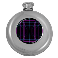 Retro Neon Grid Squares And Circle Pop Loop Motion Background Plaid Purple Round Hip Flask (5 Oz) by Mariart