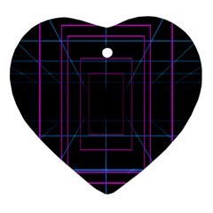 Retro Neon Grid Squares And Circle Pop Loop Motion Background Plaid Purple Heart Ornament (two Sides) by Mariart