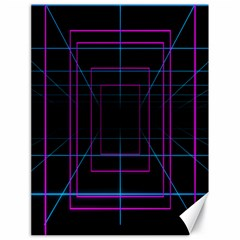 Retro Neon Grid Squares And Circle Pop Loop Motion Background Plaid Purple Canvas 18  X 24   by Mariart