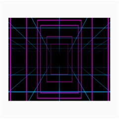 Retro Neon Grid Squares And Circle Pop Loop Motion Background Plaid Purple Small Glasses Cloth (2 Side) by Mariart