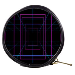 Retro Neon Grid Squares And Circle Pop Loop Motion Background Plaid Purple Mini Makeup Bags by Mariart