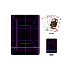 Retro Neon Grid Squares And Circle Pop Loop Motion Background Plaid Purple Playing Cards (mini)  by Mariart