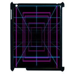Retro Neon Grid Squares And Circle Pop Loop Motion Background Plaid Purple Apple Ipad 2 Case (black) by Mariart