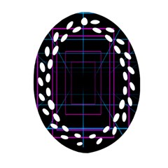 Retro Neon Grid Squares And Circle Pop Loop Motion Background Plaid Purple Oval Filigree Ornament (two Sides) by Mariart