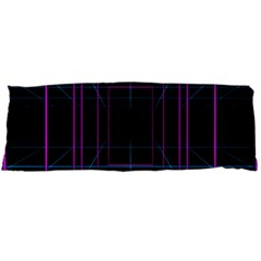 Retro Neon Grid Squares And Circle Pop Loop Motion Background Plaid Purple Body Pillow Case Dakimakura (two Sides) by Mariart