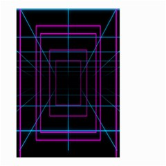 Retro Neon Grid Squares And Circle Pop Loop Motion Background Plaid Purple Small Garden Flag (two Sides) by Mariart
