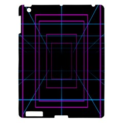 Retro Neon Grid Squares And Circle Pop Loop Motion Background Plaid Purple Apple Ipad 3/4 Hardshell Case by Mariart