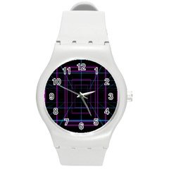 Retro Neon Grid Squares And Circle Pop Loop Motion Background Plaid Purple Round Plastic Sport Watch (m) by Mariart